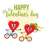 Valentine day greeting card design with heart characters riding bicycles