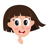 Pretty dark brown hair woman, wow facial expression