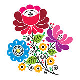 Russian design, folk art colorful flowers pattern
