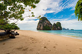 A deserted sandy beach and a beautiful cliff in the Sea, Thailan