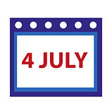 Calendar icon, flat style. 4th july concept. Isolated on white background. Vector illustration.