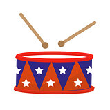 Drum icon, flat style. 4th july concept. Isolated on white background. Vector illustration.
