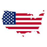 Map of America icon, flat style. Isolated on white background. Vector illustration.