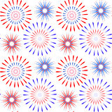 Independence Day of America seamless pattern. July 4th an endless background. USA national holiday repeating texture with firework. Vector illustration.