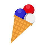 Ice cream icon, flat style. 4th july concept. Isolated on white background. Vector illustration.