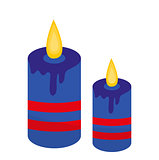 Blue candles icon, flat style. Isolated on white background. Vector illustration.
