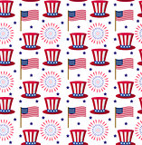 Independence Day of America seamless pattern. July 4th an endless background. USA national holiday repeating texture with traditional symbols. Vector illustration.