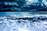 Storm and sea.Cloudy landscape