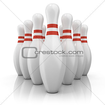Bowling pins with red stripes