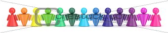 Abstract colorful symbol people figures in row. 3D