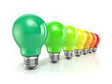 Energy efficiency concept with light bulbs. 3D