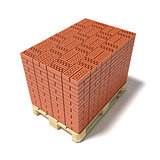 Euro pallet full of ceramic bricks. 3D