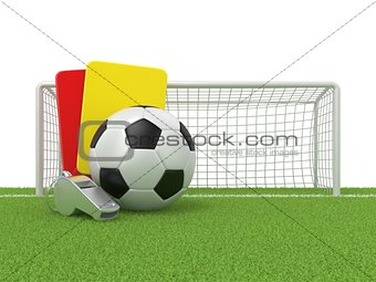 Football concept. Penalty (red and yellow) card, metal whistle a
