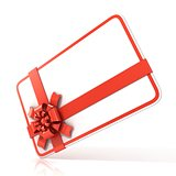 White blank gift card, with red ribbon. 3D