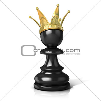 Black pawn with a golden crown