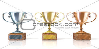Three cup trophies, gold, silver and bronze. 3D