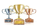 Gold, silver and bronze winners trophy cups. 3D