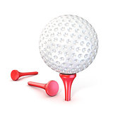 Golf ball on red tee. 3D