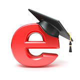 Graduation hat on E. E-learning concept. 3D
