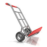 An empty hand truck, isolated on white background. 3D