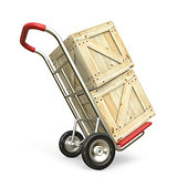 Hand truck with wooden box. Delivery concept. 3D