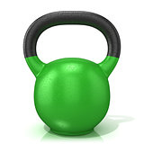 Green kettle bell weight, isolated on a white background. 3D
