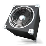 Black audio speaker. 3D