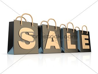 Four, black shopping bags with word SALE. 3D