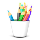 Colored pencils in a white holder. 3D