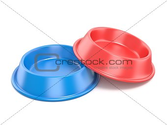 Blue and red pet bowl for food. 3D