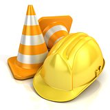 Traffic cones and safety helmet