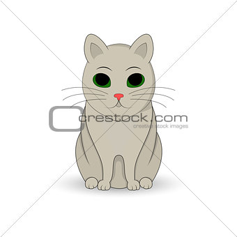 gray cat sitting up. Cartoon mascot. Isolated illustration on white background