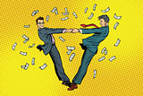 Two businessmen happily dancing in a whirlwind of money