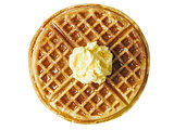 traditional classic belgium american waffle with butter and mapl