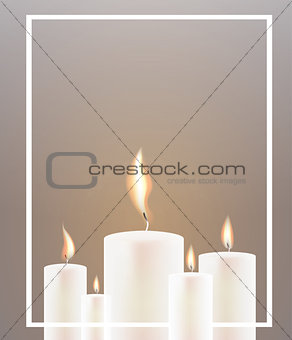 Five Candle Flame and White Frame.