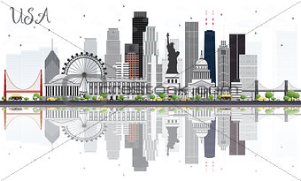 USA Skyline with Gray Skyscrapers, Landmarks and Reflections.