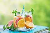 Water detox with Grapefruit and Orange.