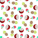 Coconut, pineapple and ice cream seamless vector pattern.