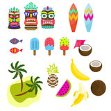 Hawaii tropic colorful clipart vector.