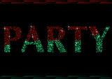 Two Colored Glitter Party Word