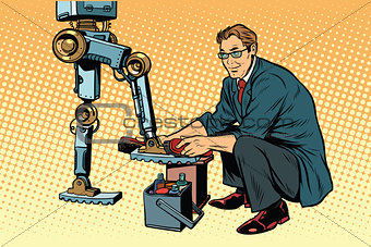 Businessman cleans shoes robot