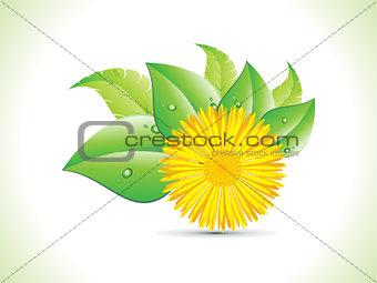 abstract detailed yellow flower with leaf