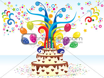 abstract colorful birthday background with cake