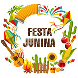 Festa junina cartoon background with decorative frame.