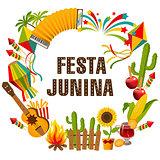 Festa junina cartoon background with decorative frame.