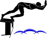 Vector image of a swimmer.It is drawn in the style of engraving.