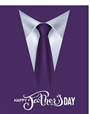 Happy Fathers Day. Lettering text template greeting card. Suit, tie and shirt