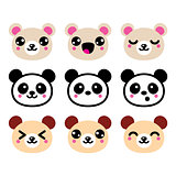 Cute Kawaii bear icons set, panda bear design