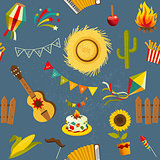 Festa junina seamless pattern. Vector hand drawn illustration.