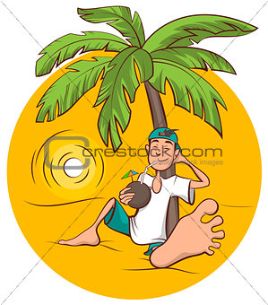 Beach holidays. Young man sits under palm tree and drinks coconut juice